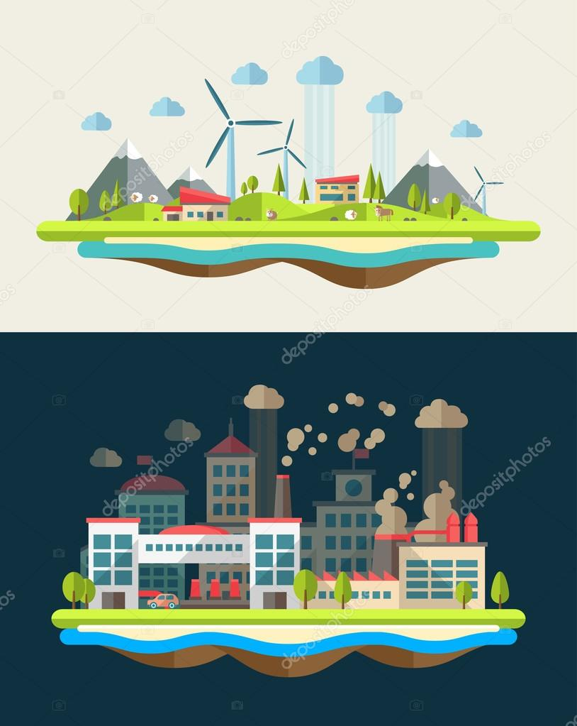 Modern flat design conceptual ecological illustration