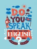 Fotografia Illustrazione di hipster moderno design piatto con frase parli inglese