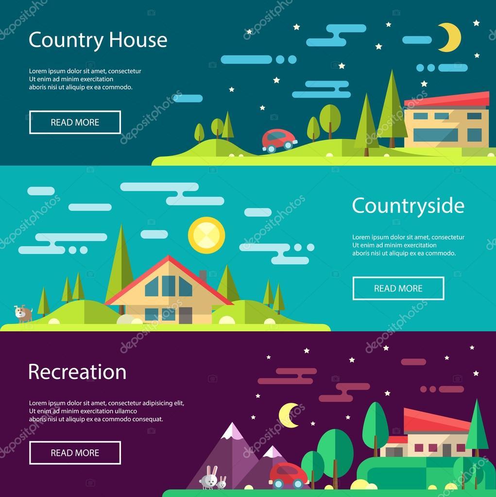 Modern flat design conceptual landscape illustrations with build