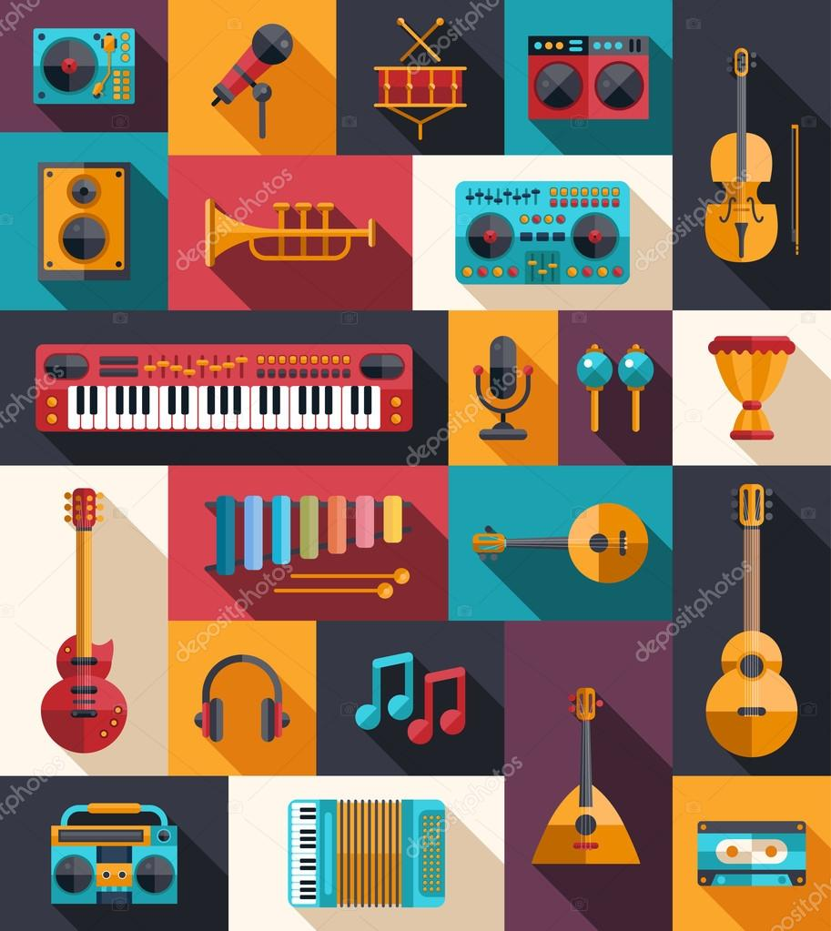 Set of modern flat design musical instruments and music tools ic