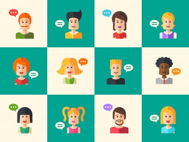 Set of isolated flat design people icon avatars for social network