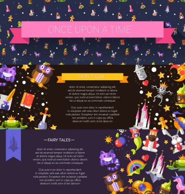 Set of modern flat design fairy tales and magic flyer templates