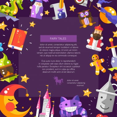 Illustration of postcard with fairy tales flat design magic icons and elements