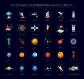 Sada ikon a infografiky prvků v prostoru