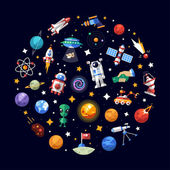 Photo Circle flat design composition of space icons and infographics elements