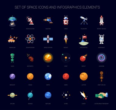 Set of vector space icons and infographics elements stock vector