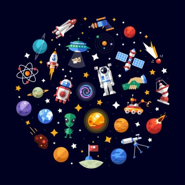Circle flat design composition of space icons and infographics elements