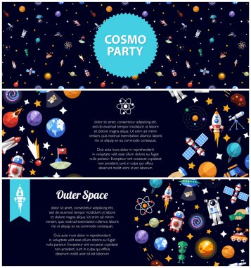 Set of flat design flyers with space icons and infographics elements