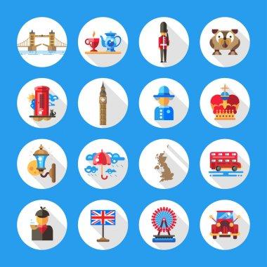 Set of flat design England travel icons, infographics elements with landmarks and famous London, United Kingdom symbols