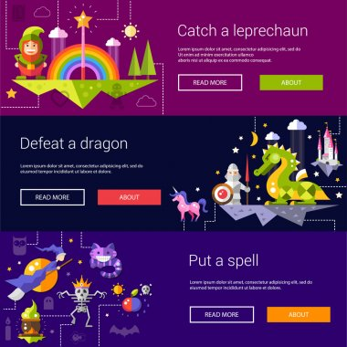 Set of banners, headers, illustrations with fairy tales flat design magic icons and elements