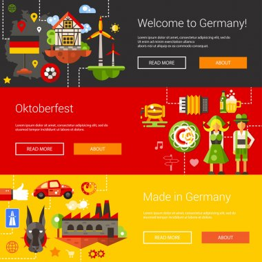 Set of flat design flyers, headers with Germany travel, tourism icons and infographics elements
