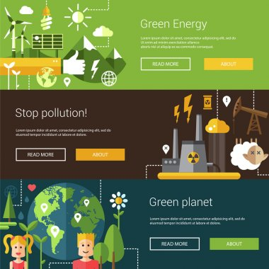 Set of ecological flat modern illustrations, banners, headers with icons and characters. Flyers for your design