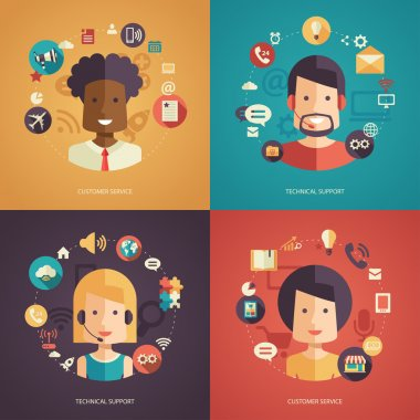 Illustration of flat design business composition with technical support