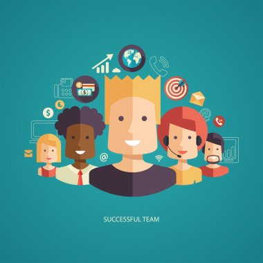 Illustration of flat design business composition with successful team