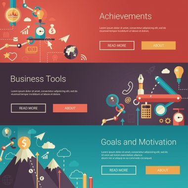Set of modern flat design business banners, headers with icons  and infographics elements. Achievements, tools, goals, motivation