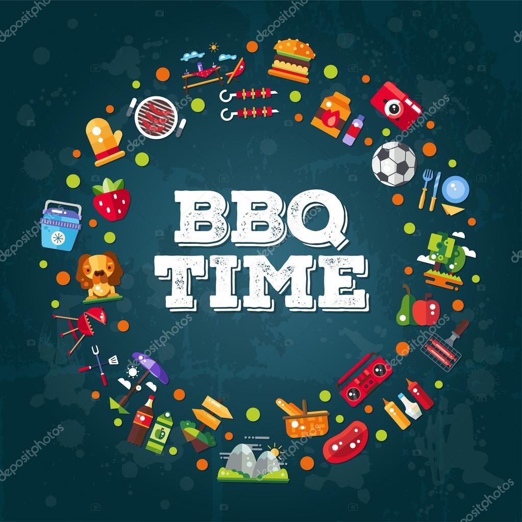 Beroemd Uitnodiging sjabloon van platte ontwerp barbecue zomer picknick  #HN51