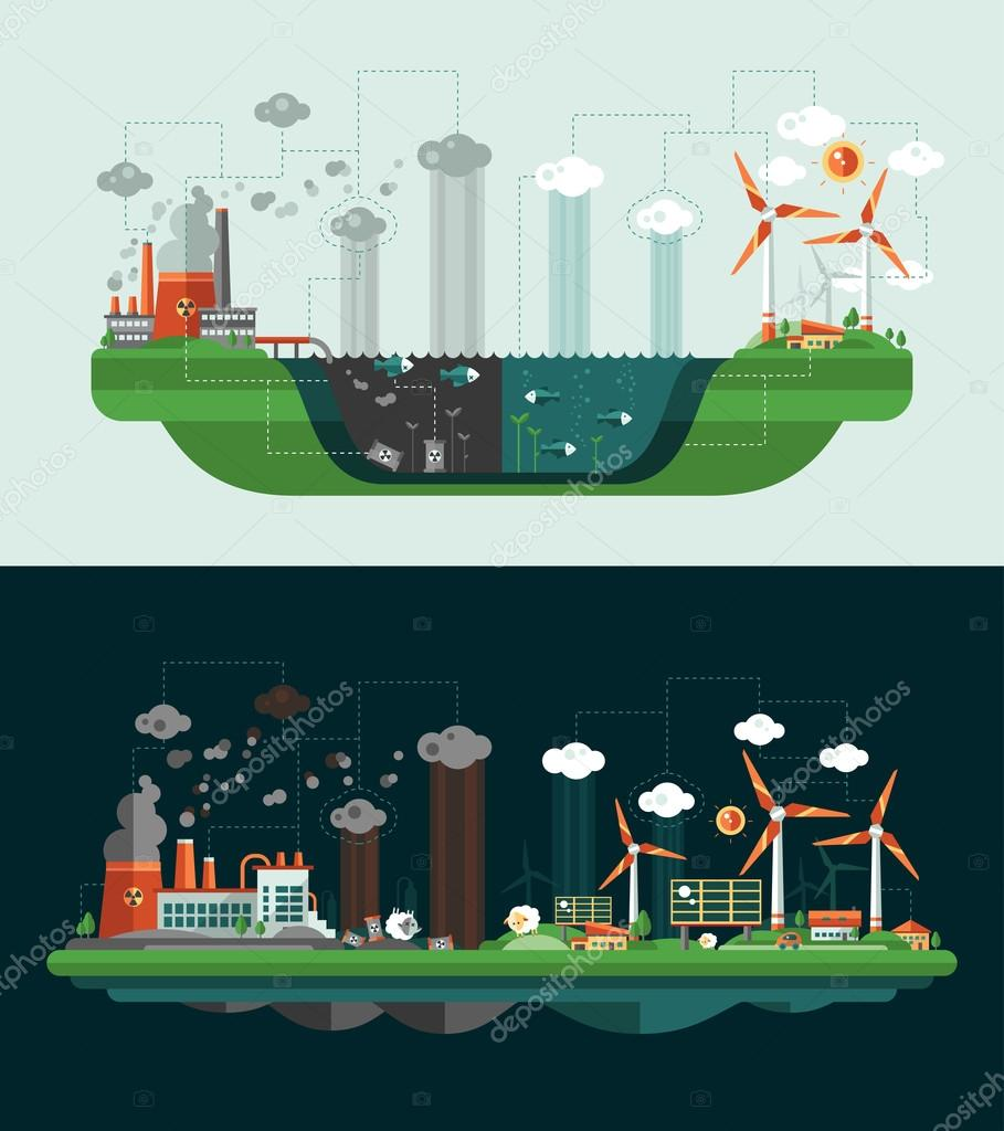 Set of modern flat design conceptual ecological illustrations with icons, infographics elements. Wasted and green landscapes.