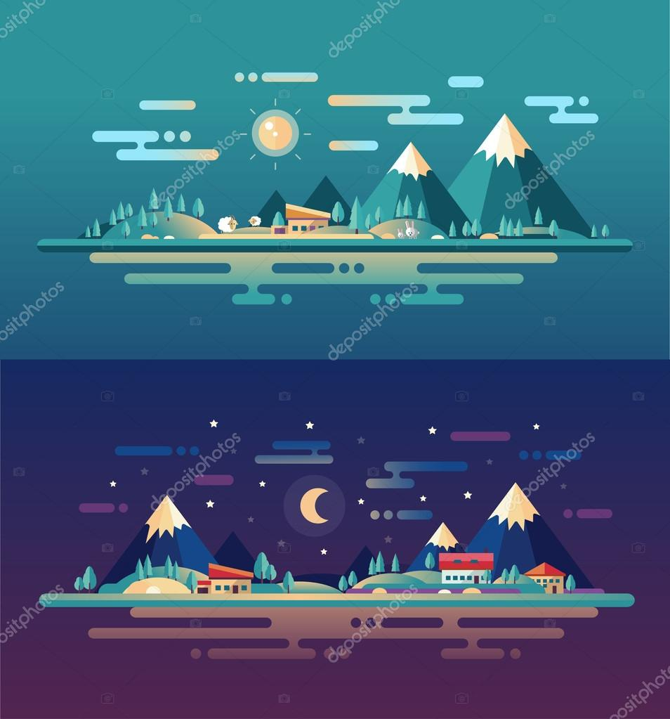 Set of modern flat design conceptual landscapes with animals, houses, mountains. Beautiful forest scenes.