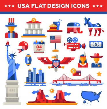 Set of flat design USA travel icons, infographics elements with landmarks and famous American symbols