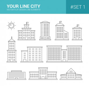 Set of line flat design buildings icons. Skyscrapers, goverment