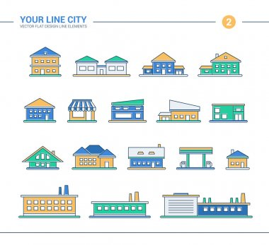 Set of line flat design buildings icons