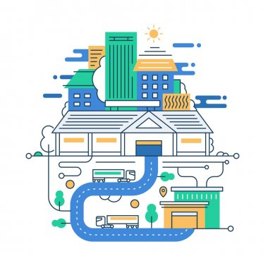 Illustration of modern line flat design city composition with buildings and cityscape infographics elements