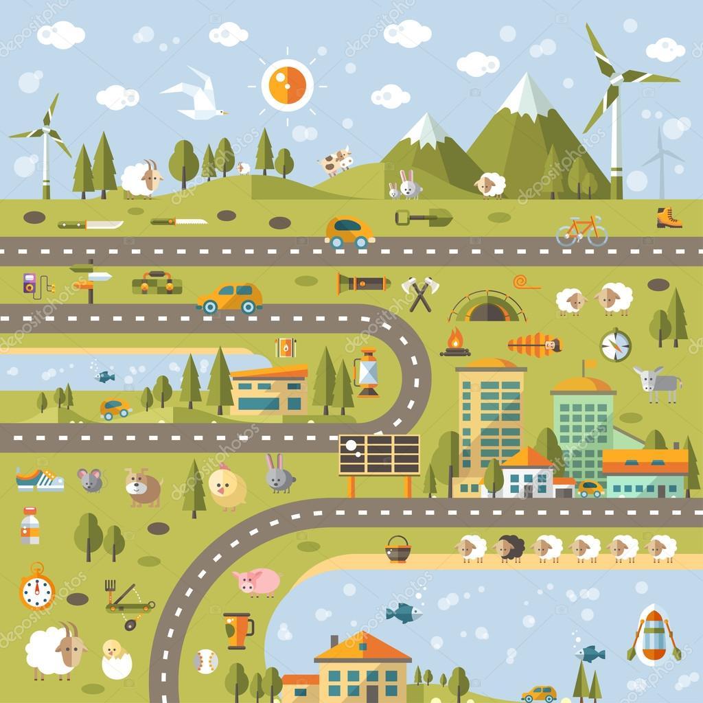 Modern flat design conceptual landscape illustration with info g
