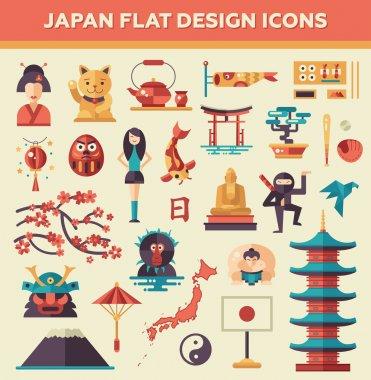 Set of flat design Japan travel icons and infographics elements with landmarks, famous Japanese symbols