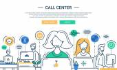 Photo Illustration of modern line flat design composition, infographics elements with call center support team and its workplace. Header, banner for your website.