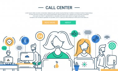 Illustration of modern line flat design composition, infographics elements with call center support team and its workplace. Header, banner for your website.