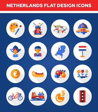 Set of flat design Holland travel icons, infographics elements with landmarks and famous Dutch symbols