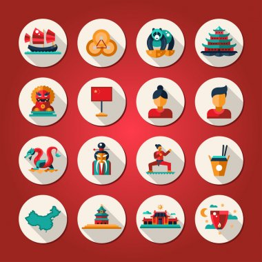 Set of flat design China travel icons, infographics elements with landmarks and famous Chinese symbols