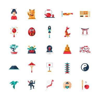 Flat design Japan travel icons, infographics elements with Japanese symbols