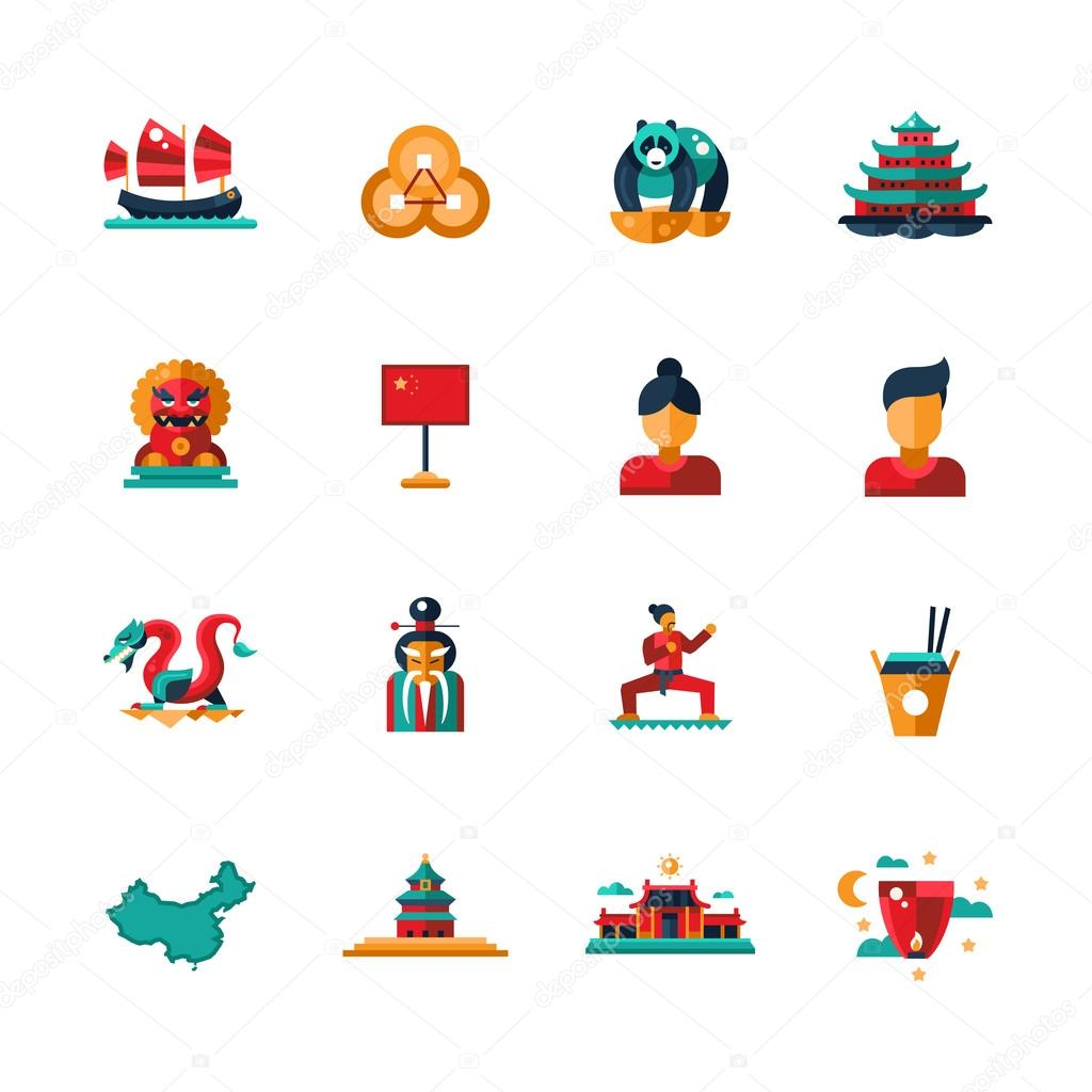 Flat Design China Travel Icons Infographics Elements With Chinese