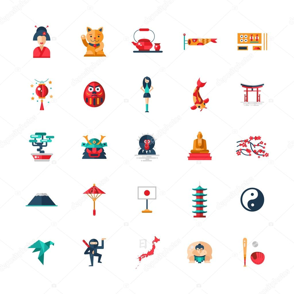 flat design japan travel icons infographics elements with