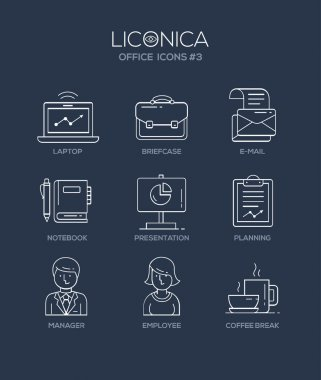 Modern office and business line flat design icons, pictograms set