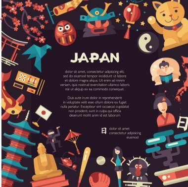 Flat design Japan travel postcard with landmarks, famous Japanese symbols