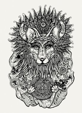 Pen and ink illustration of Indian fox holding Mayan calendar