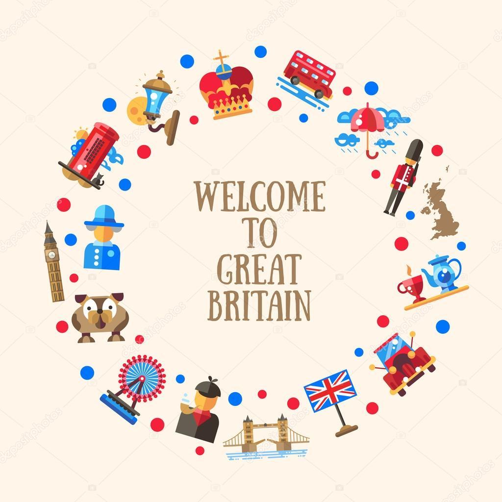 Bienvenue sur carte cercle la grande bretagne avec les symboles britanniques c l bres image for Bienvenue en bretagne