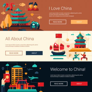 Flat design China travel banners set with famous Chinese symbols