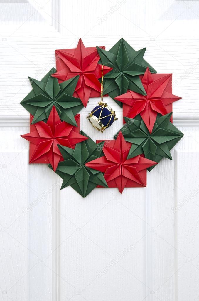 Origami Christmas Wreath On The Door Stock Photo Mukhin 56218289