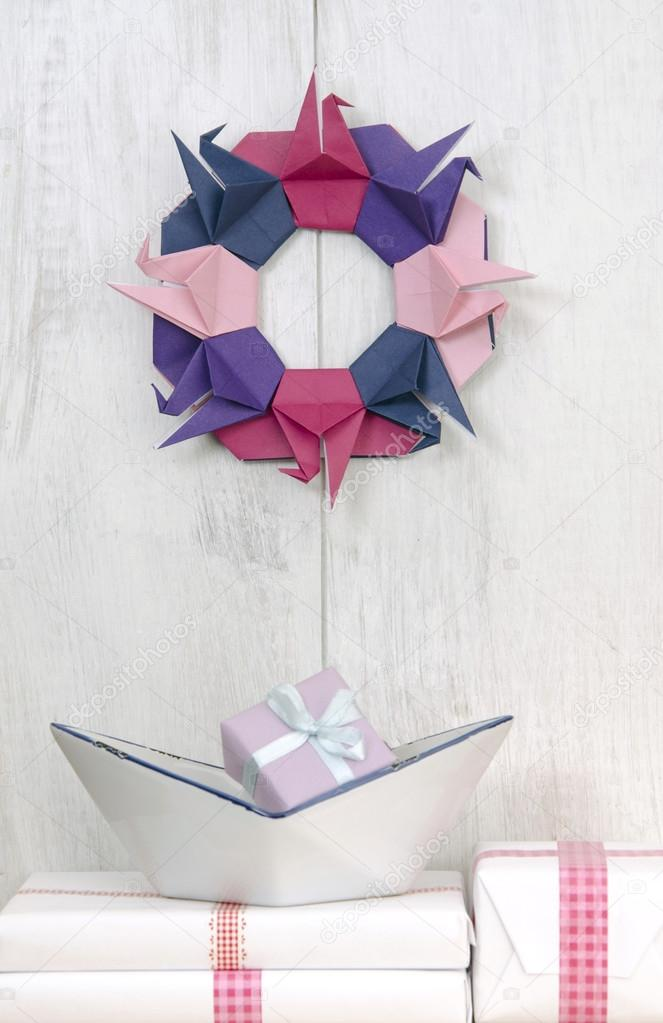 Wall Decorations Wreath Origami Crane Stock Photo