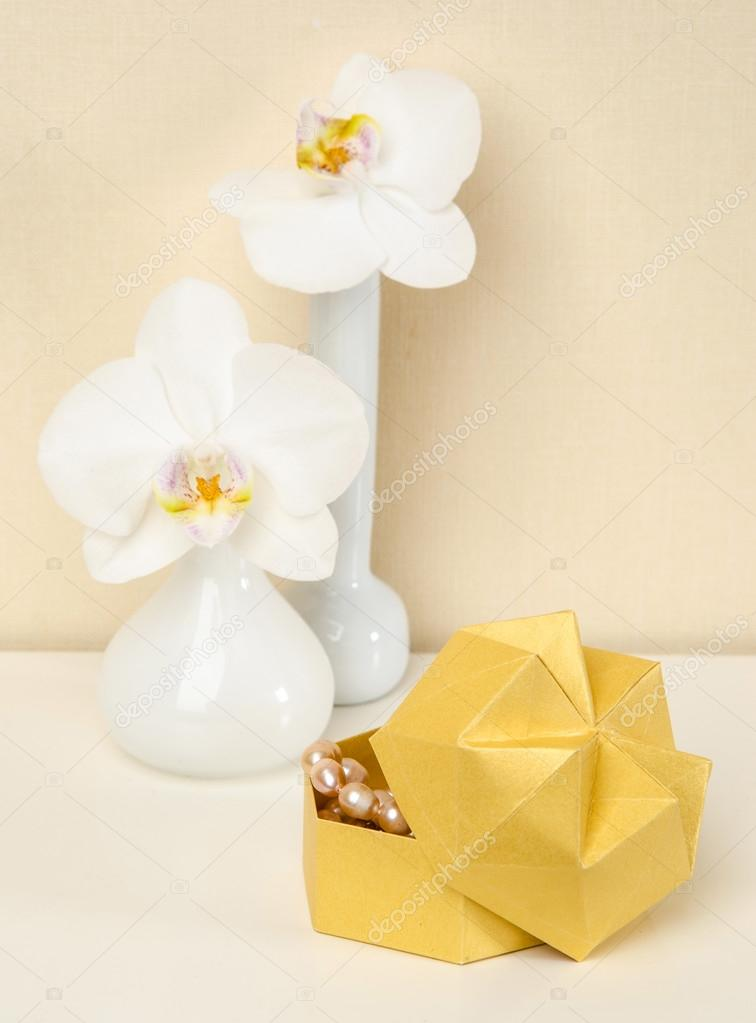 Box Origami Vase With Orchids Stock Photo Mukhin 89737300