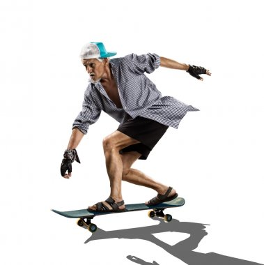 Isolated old man skater on the white background stock vector