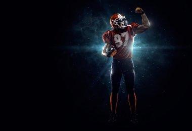 American football player in spotlight