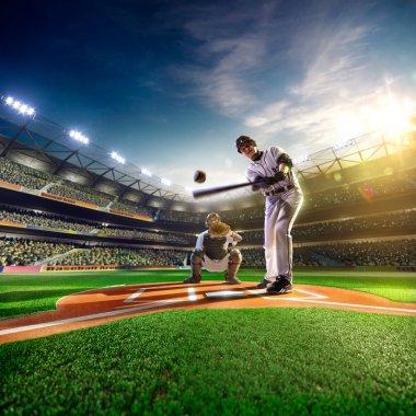 Professional baseball players on  grand arena