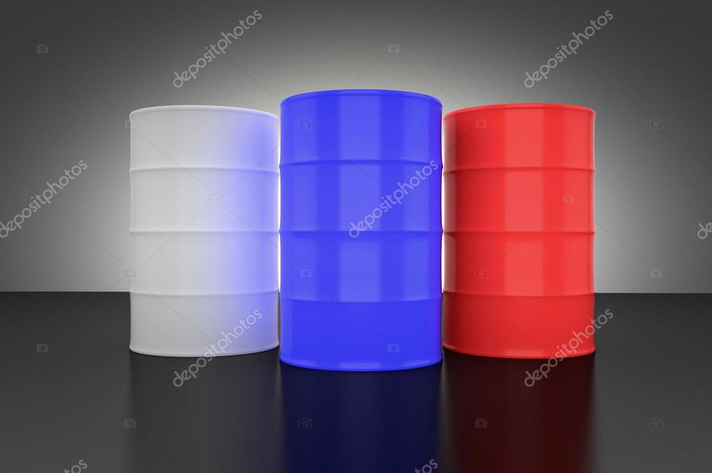 Three metal barrels in russian flag colors