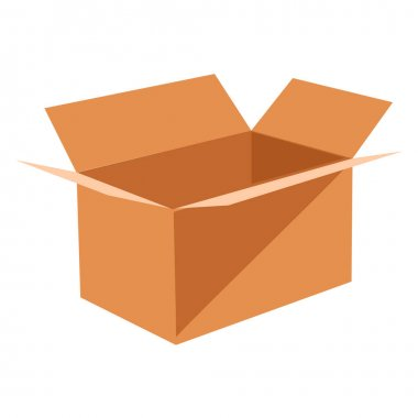 Open brown cardboard box for storing and transporting things. Cargo container box brown, post box for packaging. Concept warehouse and delivery. Vector illustration icon
