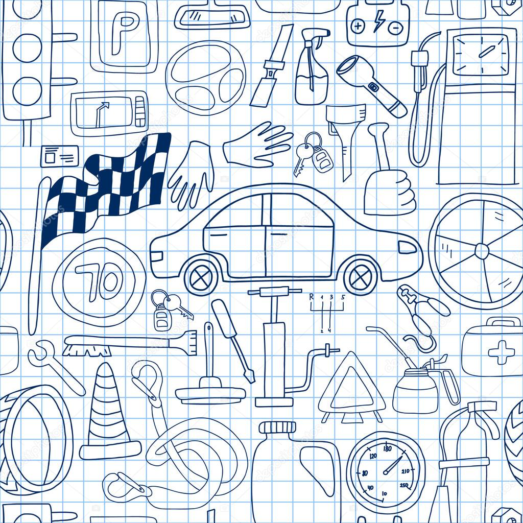 Seamless pattern with doodle icons for car and drive in blue colors ...