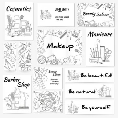Set of banners, posters and business card with make up artist objects - lipstick, cream, brush.